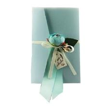 50 шт. свадебные приглашения, открытка, синяя жемчужная бумага с шелковым цветком ручной работы, пригласительные карточки на день рождения
