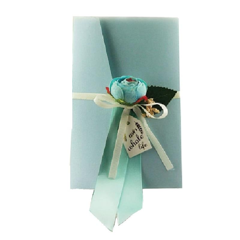 50 pcs 결혼식 초대장 카드 파란색 진주 종이 수 제 실크 꽃 베이비 샤워 생일 초대 카드-에서카드 & 초대장부터 홈 & 가든 의  그룹 1