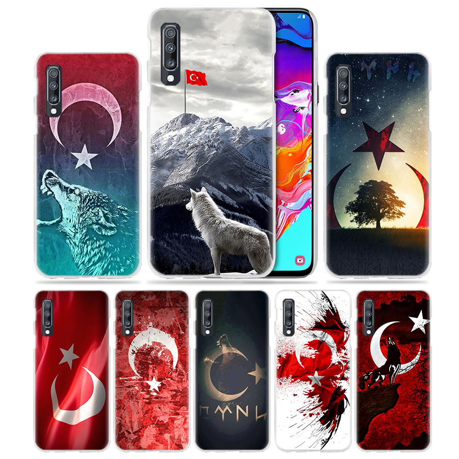 Turkey <font><b>Flag</b></font> Case for <font><b>Samsung</b></font> Galaxy A50 A70 A20e A40 A30 A20 <font><b>A10</b></font> A8 A6 Plus A9 A7 2018 Clear Hard PC Wolf Phone Coque Cover Capa image