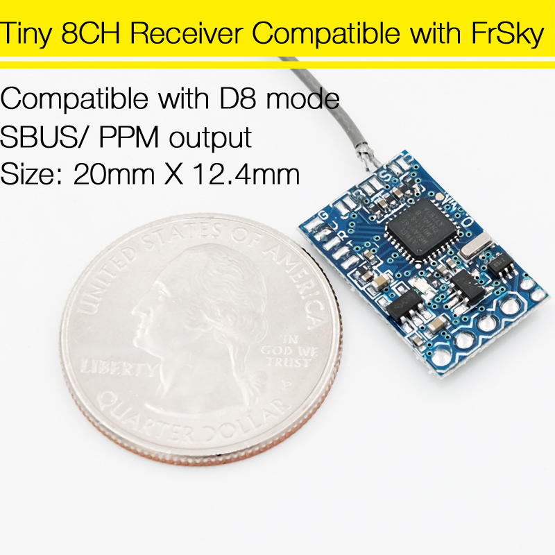 Tiny 8CH Receiver Compatible With FRSKY X9D Plus DJT DFT DHT For QX90 DIY Micro Quadcopter diy frsky 8ch receiver rx ppm output for x9d plus xjt djt dft dht