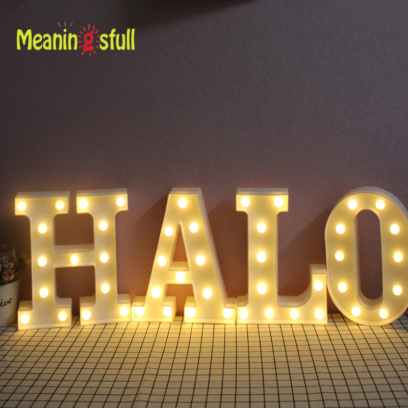 Meaningsfull 2017 Marquee Sign 26 Letters Led Night Lights Alphabet Hanging Wall Lamps For
