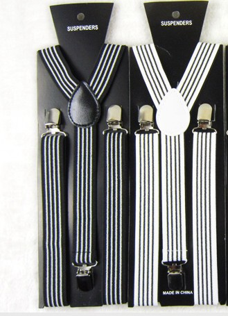 2019 Fashion  Black And White Striped Suspenders Elastic Y-back 2.5cm Width Adjustable Clips On Women/Men Braces Free Shipping