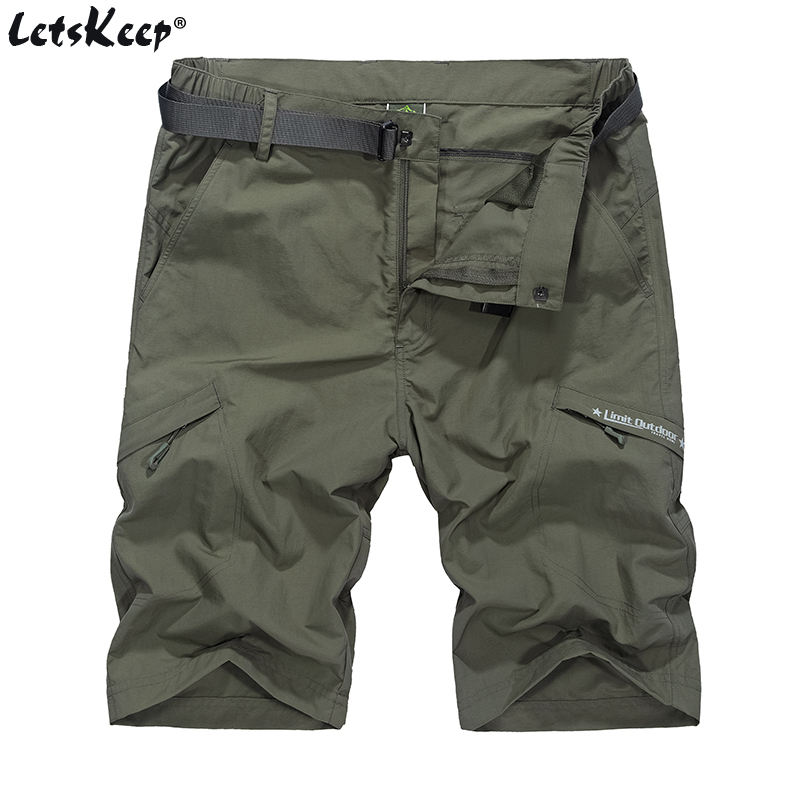 LetsKeep Summer Waterproof military shorts men thin material cargo short pants Plus size elastic shorts with belt M-4XL, A207