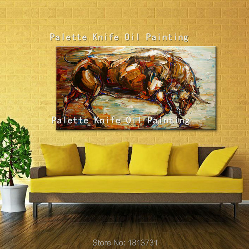 Oil painting on canvas wall pictures paintings for living room wall art canvas pop art bull modern abstract hand painted 18