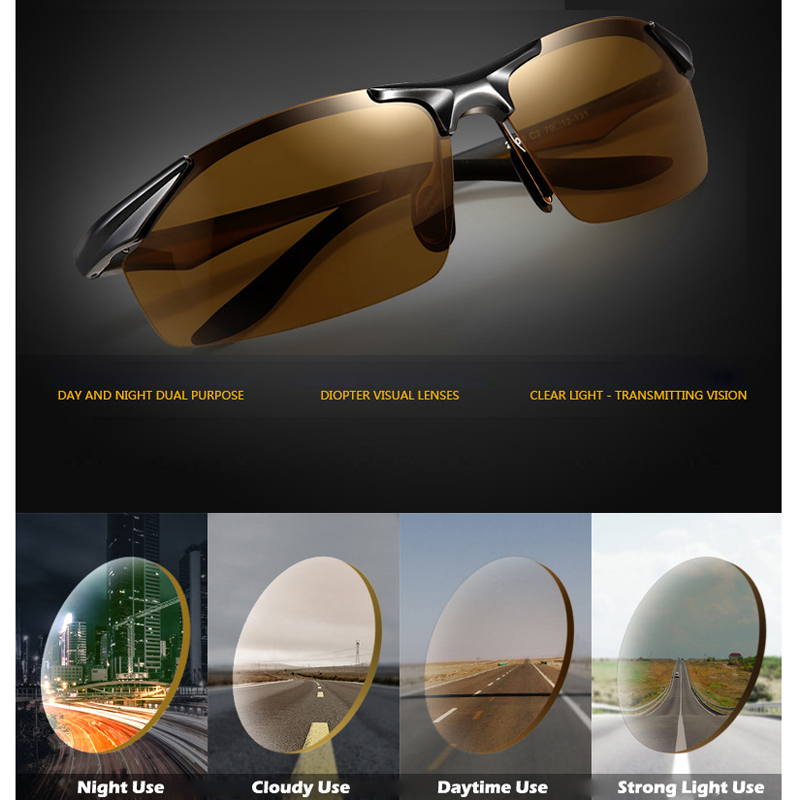 c8fc8aa2788 Men s Day Night Photochromic Polarized Sunglasses for Drivers Male Safety Cycling  Driving Fishing UV400 Sun Glasses YB2206-in Cycling Eyewear from Sports ...