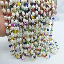 Гламур ожерелье. 6-7 мм натуральный белый пресноводный жемчуг. С украшением в виде кристаллов ожерелье. Классические женские Украшения, продвижение фабрики