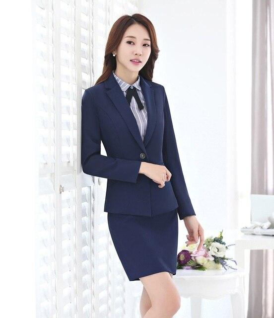 b8aeb21e60ae03 Formele Vrouwelijke Rok Pakken voor Vrouwen Werkkleding Sets Blazer en  Jassen Elegante Dames Office Uniform Ontwerpen