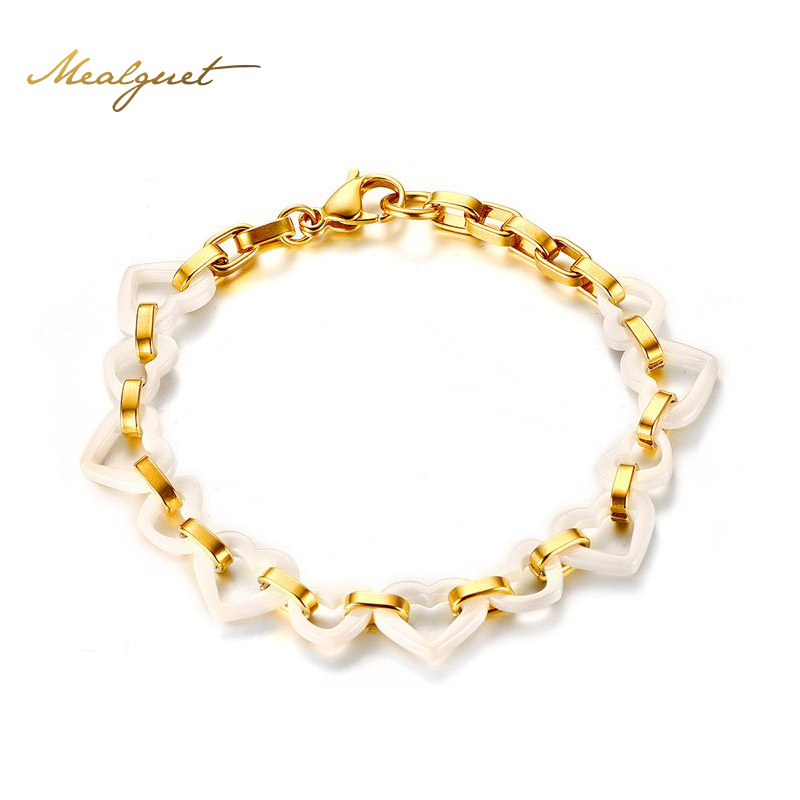 Meaeguet Women Fashion Bracelets Stainless Steel Gold ...