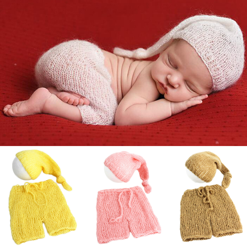 Soft Mohair Newborn Photography Props Costumes Cap/Hat+Pants 2pcs Set Baby Knitted Photo Accessories Bebe Boy Girl Outfit