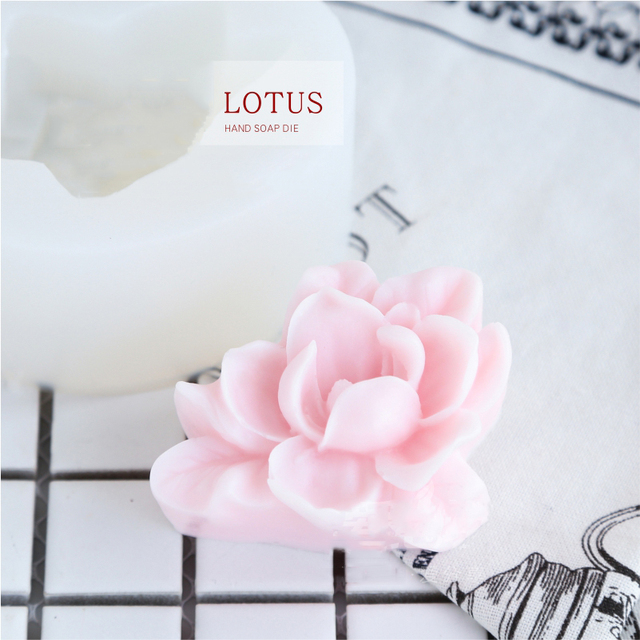 Lotus Flower Shape Soap Silicone Molds DIY Gypsum Plaster Craft Tools Flower Shape Handmade Making Soap Mould