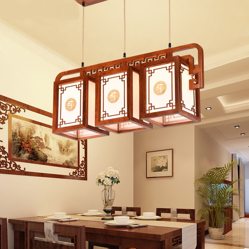 Chinese antique Pendant Lights 3 restaurant lamps solid wood corridor aisle staircase balcony tea house single head LU814279 classical chinese food industry restaurant bar cafe original wood single head pendant lights rmy 0247
