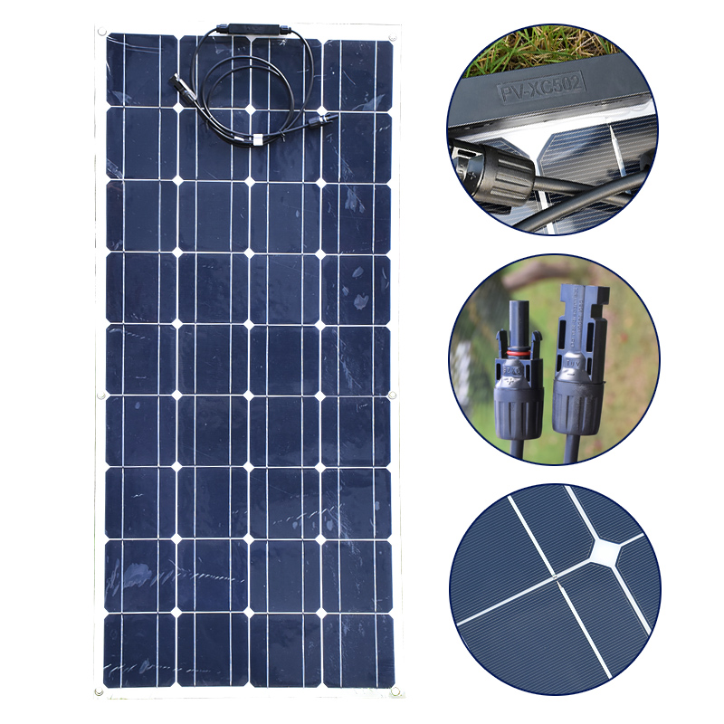 22V 100W Flexible Solar Panel Monocrystalline 36pcs Solar Cells For Motor Homes Boats Cars Roof Battery Solar Panel 100W Charger