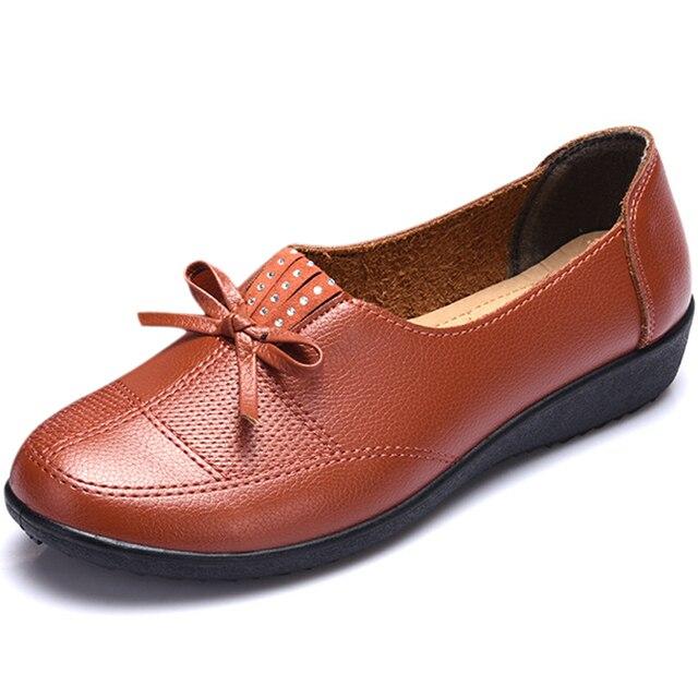 7e28b7c22be6d Se Deslizan En Las Mujeres Los Zapatos Planos mocasines Mujer 2016 Genuino  de la Espuma Bowtie