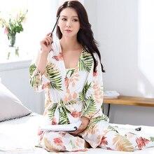 Brand Autumn 3 Piece Sets Women Cotton Dress Robes Matured Pijama Robe Sets Sexy  Women Ladies a54c058d9