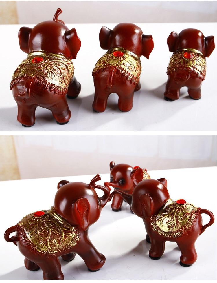 New 3pcsset figurine <font><b>home</b></font> decoration resin Elephant sculpture Southeast <font><b>Asian</b></font> style craft elephant <font><b>decor</b></font> wedding gift