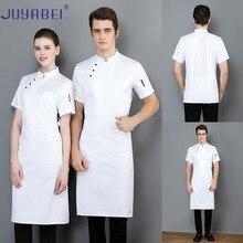 Solid Color Three Button Short Sleeve Chef Uniform Summer Unisex Cooking Cuisine Jacket Restaurant Hotel Hair Salon Work Shirt