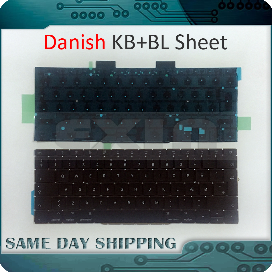 Genuine New for Macbook Pro 13.3 Retina A1708 Danish Keybaord Denmark Danmark DK Keyboard w/ Backlight Backlit 2016 2017 Year early 2016year new original a1534 for macbook 12 a1534 sp spain spanish keyboard without backlight backlit emc 2991