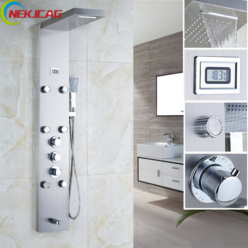 Thermostatic Rainfall Shower Column Body Massag Jets Hot and Cold Shower Panel Faucet with Temperature Digital
