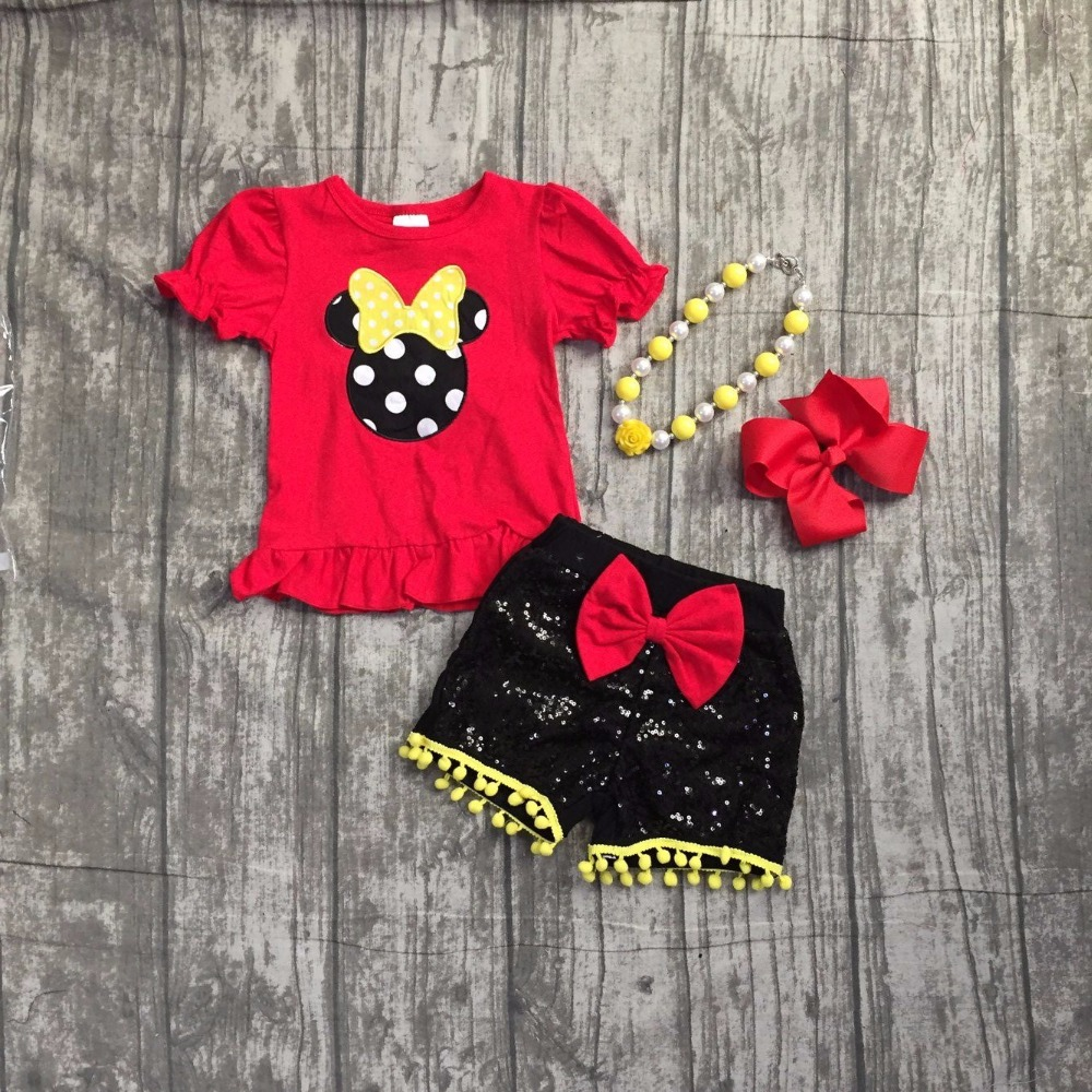 baby girls minnie summer outfits children red minnie clothes girls minnie top with black sequin shorts outfits with accessories minnie dots 4th birthday number minnie print tank top with white ruffles