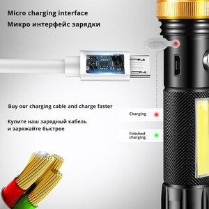 Image 3 - Super heldere Waterdichte LED Zaklamp Met COB side licht Roterende zoom 3 verlichting modi Aangedreven door 18650 batterij voor camping