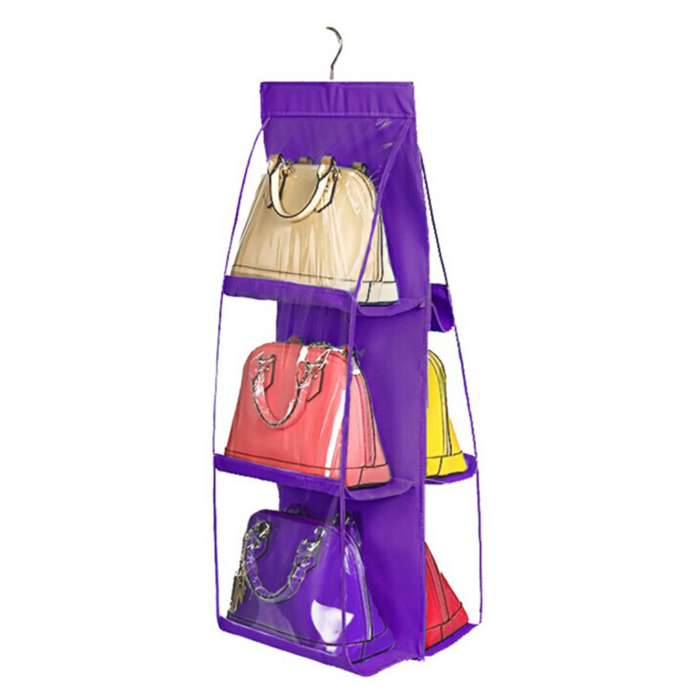 6 pocket pvc storage bag organizador hanging bags closet organizer wardrobe rack hangers holder for fashion