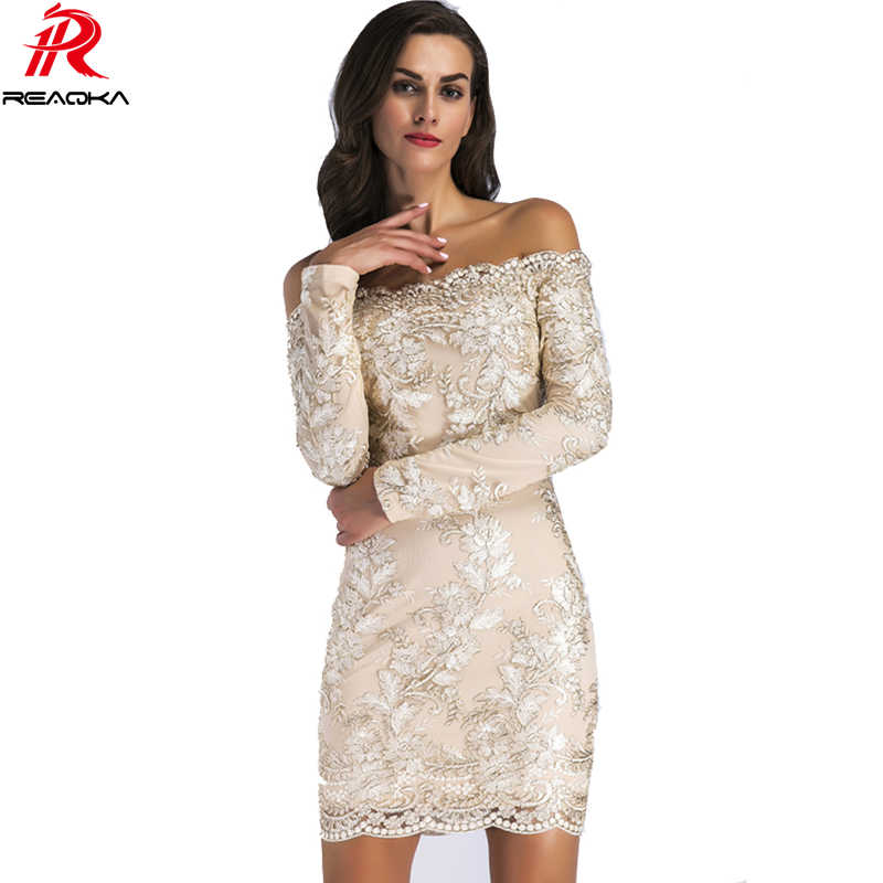 766944d78716 Chic Embroidery Celebrity Sexy Women Sequins Dress Fashion Autumn New Woman  Slim Vintage Bodycon Luxury Club