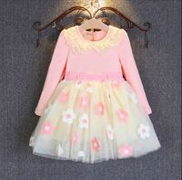new 2016 baby girl clothing princess dresses for girls baby girl lace floral longsleeves party dress girl's tutu dresses 2T-7T