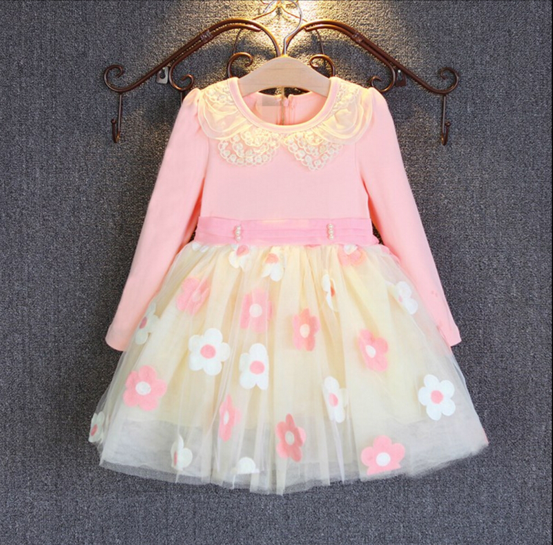 new 2016 baby girl clothing princess dresses for girls baby girl lace floral longsleeves party dress girl's tutu dresses 2T-7T new summer girls dress o neck floral pattern mini lovely princess dresses girl party clothing