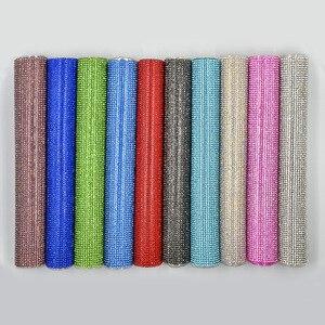 Image 2 - Junao 24*40 センチメートルグリッタークリアabガラスラインストーンメッシュトリムホットフィックスクリスタル生地シーツのためのラインストーンリボンアップリケドレス工芸品