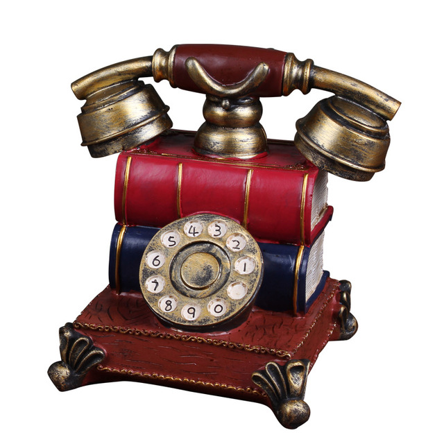 Retro phone European style retro resin handicrafts piggy nostalgia creative antique telephone Home Furnishing gift home decor
