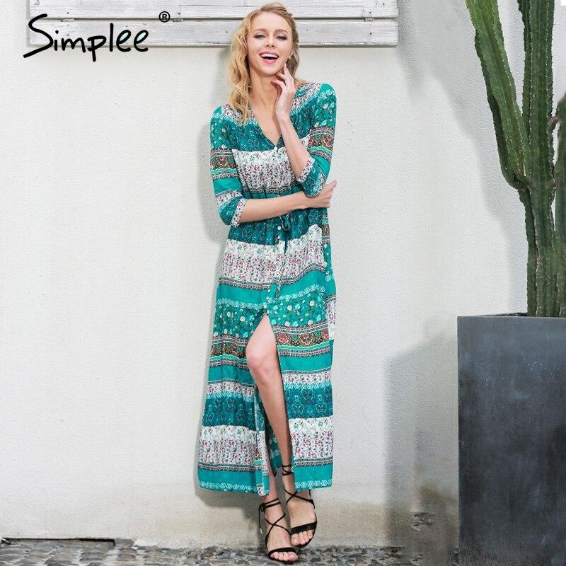 Simplee dividida Sexy boho paisley print vestido de Las Mujeres de la vendimia c