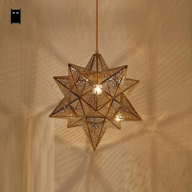 À Doré Avize Moderne Abat Jour Suspension Salle Cordon Nordique Manger Luminaire Géométrique Long Fer Lampe Design Étoile Nnm0wv8