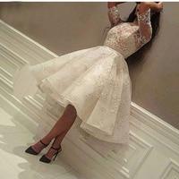 2019 Fashion Ivory Short Prom Dress Lace Applique Beads Half Sleeve Knee Length Dubai Arabic Short Cocktail Dress Party Gowns
