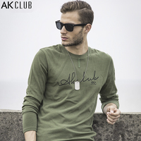 AK CLUB Brand Men T Shirt Long Sleeve Vintage Military Style Tshirt Cotton Letter Print Sleeve