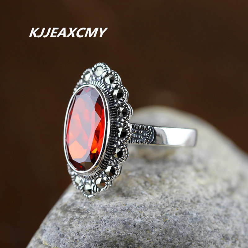 KJJEAXCMY Silver products thai silver finger ring personalized women's 925 pure silver garnet ring 925 pure silver ring shar pei dog ring bulldog thai silver ring vintage finger ring