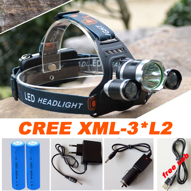 High quality Led Headlamp Headlight 20000 Lumens Linterna 3x Cree XML L2 Hiking Head Light with Charger headlamp 18650 battery