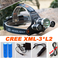 Led Headlamp Headlight 9000 Lumens Linterna Frontal 3x Cree XM L2 Hiking Flashlight Head Torch Light