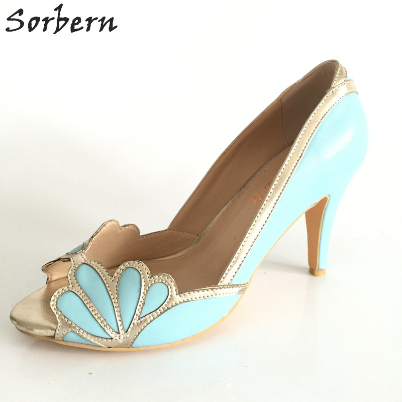Sorbern Sky Blue High Heels Wedding Shoes Gold Straps Bridal Pump Shoes Stilettos Large Size 33-46 Custom Colors Peep Toe Shoes фигурки blue sky фигурка северный олень