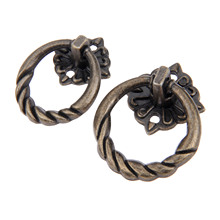 5Pcs Antique Bronze Ring Pulls Knob Furniture Handle Vintage Cabinet Knobs and Handles Cupboard Pull Hardware