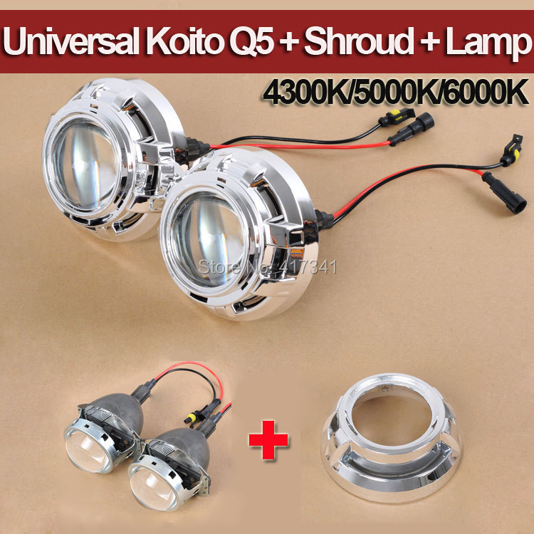 3 Inches Koito Q5 HID Bixenon Projector Lens + HID Xenon Lamp 4300K 6000K + Projector Shroud for Headlamp H1 H4 H7 H11 9005 9006 safego 2 5inch hid bixenon projector lens kit bi xenon with shroud bi xenon lens for h1 h4 h7 h11 9005 9006 car hid headlight