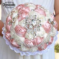 Kyunoviaゴージャスなウェディングブーケブローチブライダルブーケアイボリー人工ローズ花花嫁のブーケ結婚式アクセサリーa0002