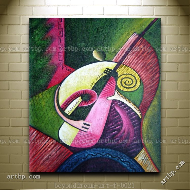 Playing Musical Instrument Oil Painting Abstract Modern
