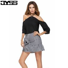 JYSS  Europe and the United States the size of the new summer lattice stitching belt bow belt skirt 9653#