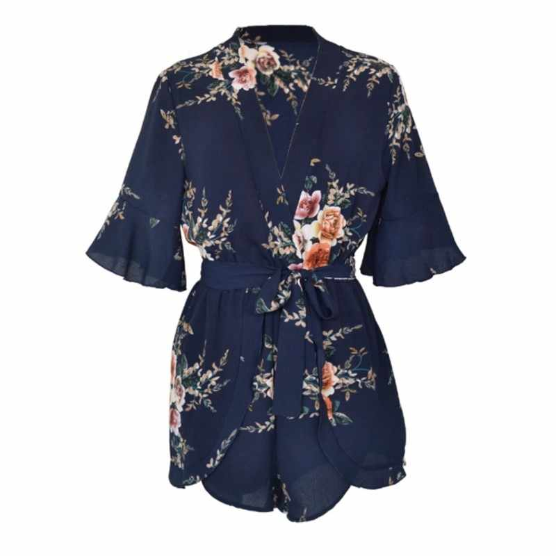 c8c1b2347ef ... plus size rompers womens jumpsuit short summer beach overalls ladies  rompers 2018 one piece floral playsuit