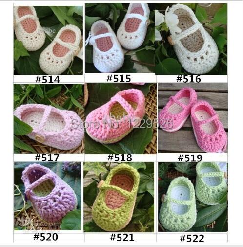 Hæklet baby dreng søde sko første walker sko bomuldsgarn 0-12M første walker sko