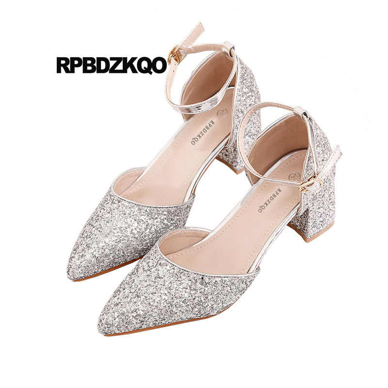 646b8292812 medium heels sandals plus size ladies silver glitter pumps wedding 4 34  bling high 33 pointed