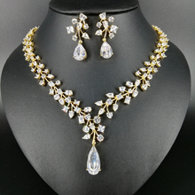 New fashion luxury romantic crystal water drop zircon golden necklace earring set,wedding bride formal jewelry free shipping!