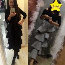 Весенняя черная серая винтажная Зимняя юбка с высокой талией, длинные макси юбки для женщин, женские юбки с оборками, saia longa saias faldas