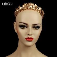 Chran Diosa Griega de La Hoja de La Corona Reina Barroca de Oro Color Corona Tiara Nupcial de La Boda Accesorios para el Cabello Diadema Postizo CRH602