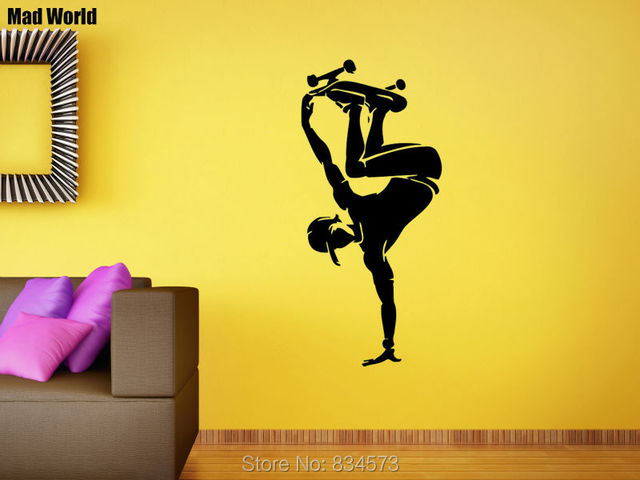 Mad World Boy Skateboard Skater Sports Wall Art Stickers Wall Decal ...